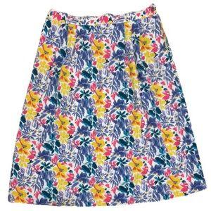 Vintage bright floral midi skirt